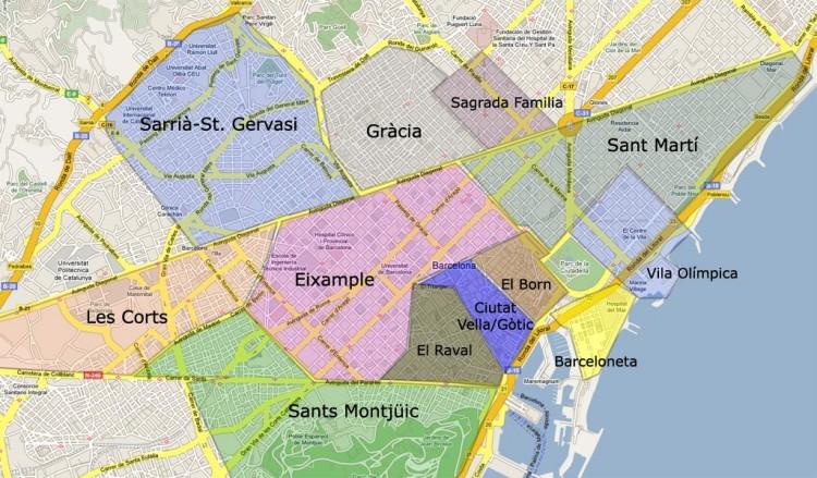 barcelona kvarter karta
