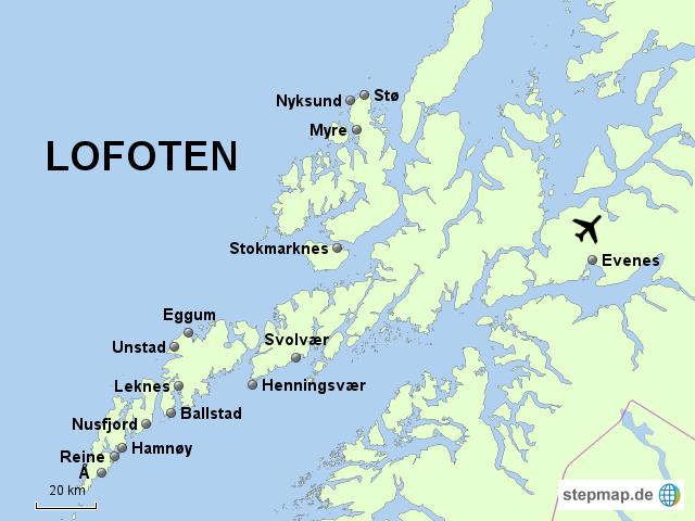 Norge, Lofoten, karta