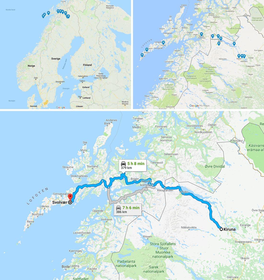 Roadtrip Kiruna till Lofoten Karta