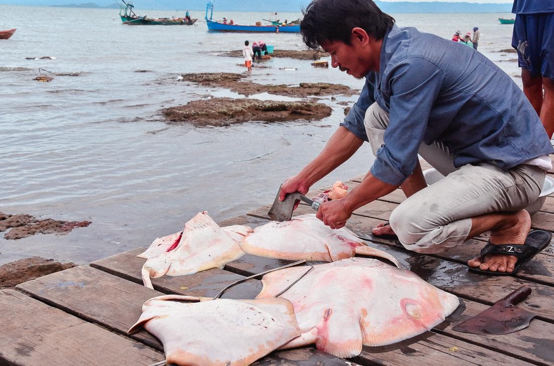Kambodja, Kep, Krabbmarknad